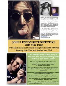 John Lennon Retrospective Exhibition With May Pang Iconic Images Art Gallery Beatles And Rock And Roll Retrospective Exhibition